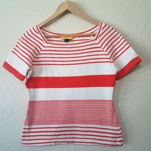 St John Orange White Stripe short sleeve top sz M